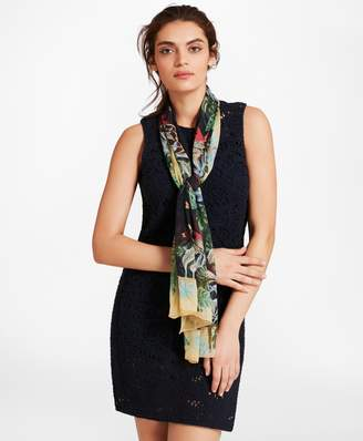 Brooks Brothers Tropical-Print Silk Chiffon Oblong Scarf