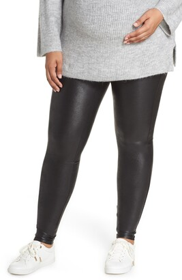 Spanx Mama High Rise Faux Leather Maternity Leggings