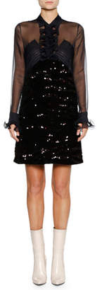 Bottega Veneta Long-Sleeve Ruffle-Placket Sequin Beaded A-line Cocktail Dress