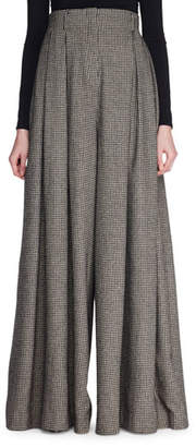 The Row Garcia Pleated Mini-Houndstooth Palazzo Pants
