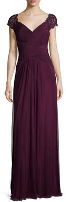 La Femme Cap-Sleeve Ruched Chiffon Gown $478 thestylecure.com