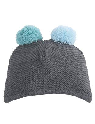 A Pea in the Pod Elegant Baby Pom Pom Hat- Charcoal