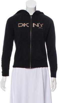 DKNY Embellished Zip-Up Sweatshirt