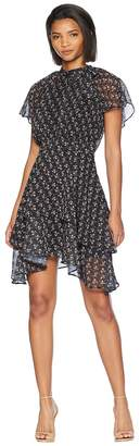 Adelyn Rae Erin Woven Tie-Neck Tiered Dress Women's Dress