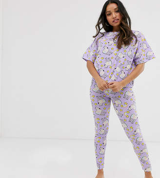Asos DESIGN Petite rainbow zebra unicorn t-shirt and legging pyjama set