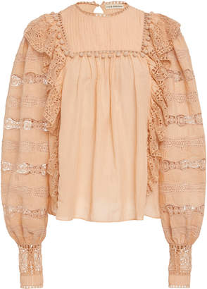 Ulla Johnson Lily Eyelet Cotton Blend Top
