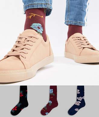 Asos Design DESIGN socks in dark floral design 3 pack