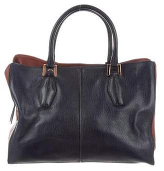 Tod's Leather Tote Bag Blue Leather Tote Bag