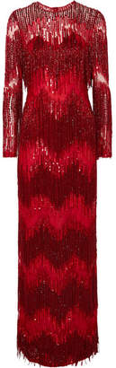 Naeem Khan Embellished Tulle Gown - Red