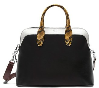 Mulberry Colville Leather Satchel With Genuine Snakeskin Trim - Black $1,880 thestylecure.com