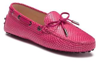Tod's Snake-Embossed Leather Grommini Moccasin