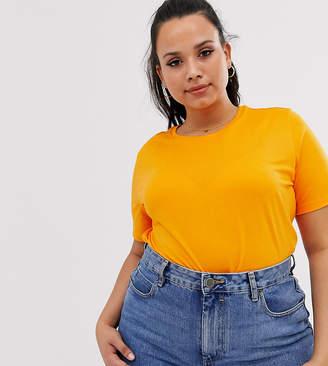 Asos DESIGN Curve organic cotton crew neck t-shirt in orange