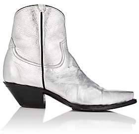 R 13 Women's Metallic Leather Cowboy Boots-Silver