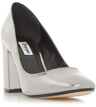 Dune Ladies ACAPELA Round Toe Block Heel Court Shoe in Pewter Size UK 3