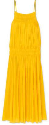 Three Graces London - Gisella Shirred Cotton-gauze Maxi Dress - Yellow