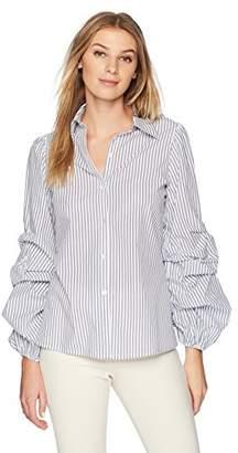 Lark & Ro Amazon Brand Women's Woven Shirt with Pintucked Sleeve
