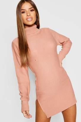 boohoo Petite Knitted Roll Neck Jumper Dress