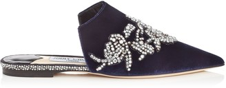 Jimmy Choo RACHEL FLAT Navy Velvet Mules with Peony Crystal Embroidery