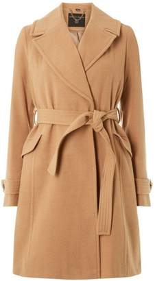 Dorothy Perkins Womens Camel Belted Wrap Coat