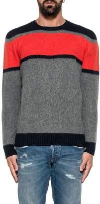 Drumohr Blue/orange/gray Striped Wool Sweater