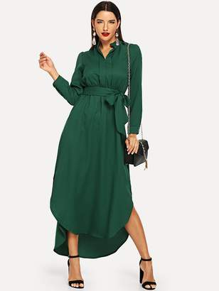Shein Tie Waist Curved Hem Midi Shirt Dress