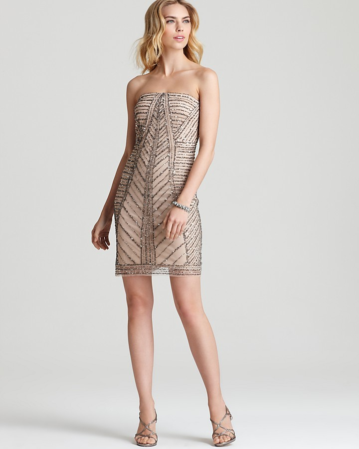 Adrianna Papell Strapless Dress - Embellished