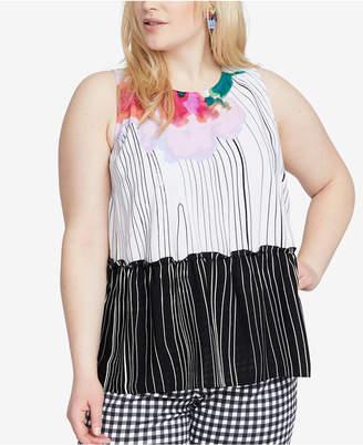 Rachel Roy Trendy Plus Size Printed Tie-Back Tank