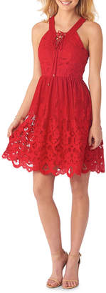 5twelve Fit-and-Flare Lace Overlay Dress, Red