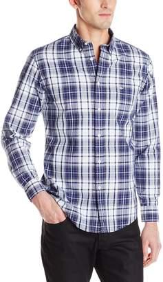 Dockers Long Sleeve Button Down Collar Cotton Chambray Multi Plaid Shirt