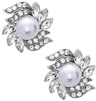 Women's Nina Crystal & Faux Pearl Floral Stud Earrings $55 thestylecure.com