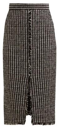 Alexander McQueen Fringed Tweed Pencil Skirt - Womens - Black White