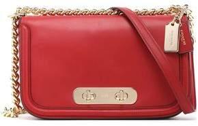 Coach Chain-Trimmed Leather Shoulder Bag
