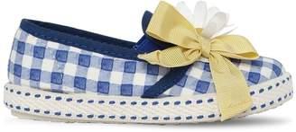 MonnaLisa Daisies Gingham Print Slip-On Sneakers