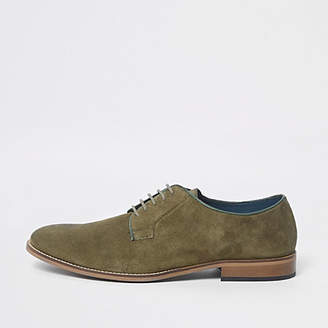 River Island Green suede piping lace-up derby shoes