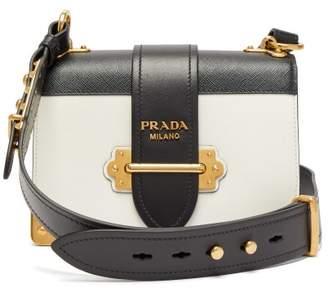 Prada Cahier Leather Cross Body Bag - Womens - White Black