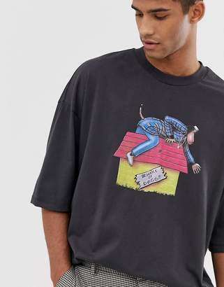 4fa864f2 Asos Design DESIGN Snoop Dogg oversized t-shirt with front and back print