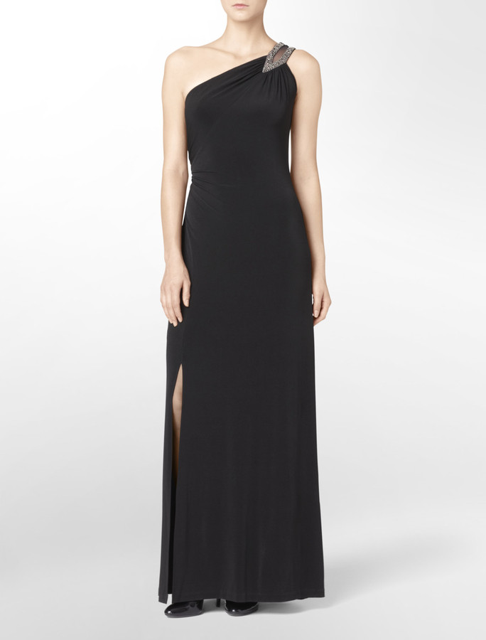 Calvin Klein One Shoulder Embellished Gown