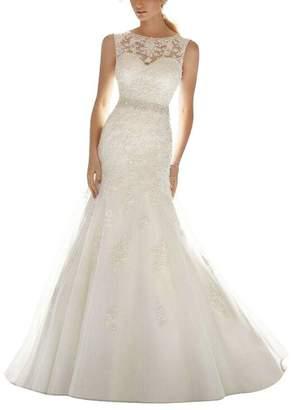 APXPF Women's Organza Lace Mermaid Wedding Dress Bride Gown US