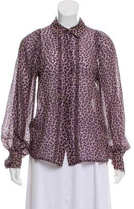 See by Chloe Silk-Blend Button-Up Top