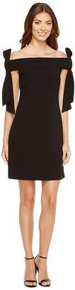 Donna Morgan Sleeveless Crepe Dress with Bow Details at Shoulder Women's Dress