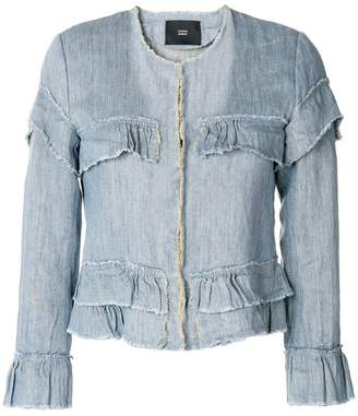 Steffen Schraut ruffled details denim jacket