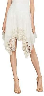 BCBGMAXAZRIA Floral Embroidered Handkerchief Skirt