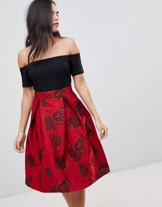 AX Paris Off Shoulder Skater Dress With Printed Skirt