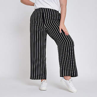 River Island Plus black stripe wide leg pants