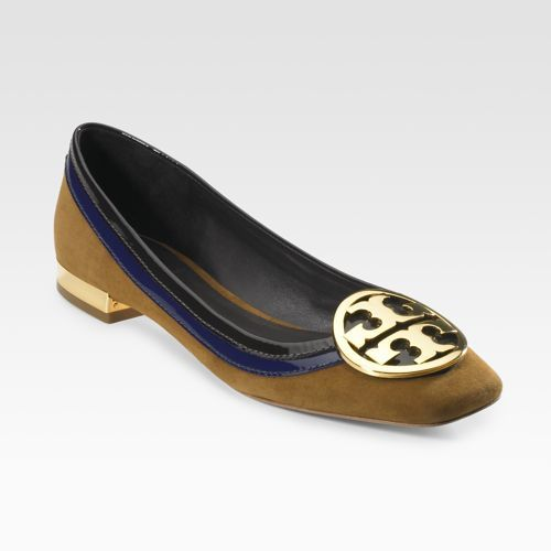 Tory Burch Suede/Patent Skimmers