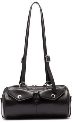 Miu Miu Flap Pocket Leather Bowling Bag - Womens - Black