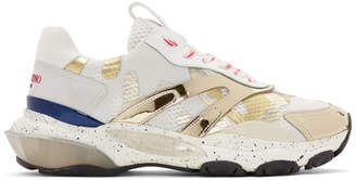 Valentino White and Gold Garavani Camo Bounce Sneakers