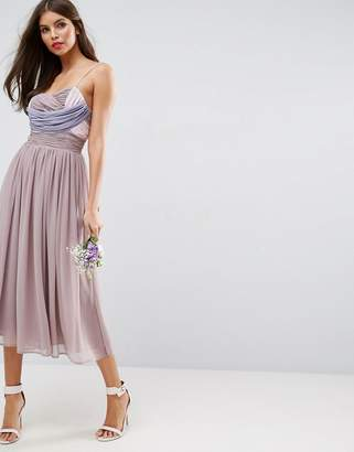 Asos DESIGN Bridesmaid ruched color block midi dress