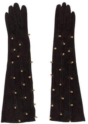 Hermes Embellished Suede Gloves