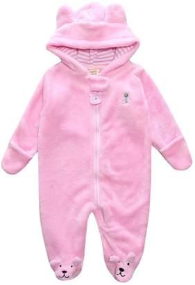 Tenworld Newborn Baby Boy Girl Winter Clothes Bear Ears Hoodie Romper Jumpsuit